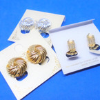 Classic Gold & Silver Textured Round CLIP ON Earrings .54 per pair