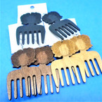 "2.75"" Wood Hair Pick w/ Lady Head Fashion Earrings 3 colors .54 per pair"