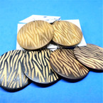 "2"" Round  Wood  Fashion Earrings Zebra Print Look 3 colors .54 per pair"