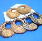 """2"""" Round  Wood  Fashion Earrings Open Flower Look 3 colors .54 per pair"""