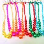 """16"""" -18"""" Mixed Summer Color Glass Pearl Neck Sets  .58 per set"""