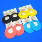 "2"" Summer Color Disc Earring w/ Gold Top .54 per pair"