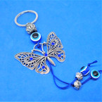 Cast Silver Butterfly Keychain w/ Eye Beads .54 each