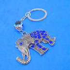 Cast Silver Crystal Stone Elephant  Keychain w/ Eye Bead .54 each