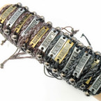 3 Strand Teen Leather Bracelet w/ Mixed Sayings   .54 each