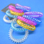 Trendy 6 Pack Phone Coil Ponytailers/Bracelets Transparent Colors  .56 per set