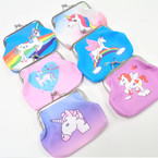 "3.75"" Snap Closure Unicorn Theme Coin Purses .54 each"