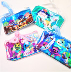 "3"" X 6"" Metallic Baby Shark Zipper Bag w/ Long Strap .56 each"