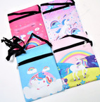 "5"" X 6.5"" Metallic Unicorn Print Zipper Bag w/ Long Strap .58 each"