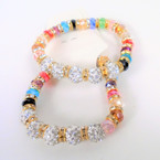 Crystal Bead & Fireball Cry. Bead Stretch Bracelets .56 each