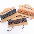 Braid Style  Teen Leather Bracelet Plus Wood Bead  .55 each set