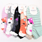 Cute Cat Print Slip On Short Socks  6 colors .54 per pair