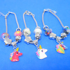 Pandora Style Charm Bracelets w/ Colorful Unicorn Charm .56 ea
