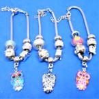 Pandora Style Charm Bracelets w/ Colorful Owl Charm .56 ea