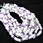 "Special 16"" Chipped Puka Shell Necklaces White w/ Purple Chips $1.00 ea"