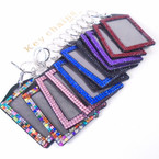 "3.5"" Acrylic Stone Vertical ID Holder Clip w/ Keychain .54 each"