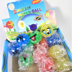 "New 2"" Sticky Bead Inside Smash Water Balls Emoji Theme 12 per bx .54 each"