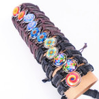 Popular Teen Leather Bracelet w/ Colorful Inlay Design  .54 ea