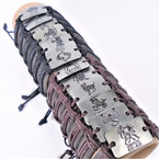 Popular Teen Leather Bracelet w/ Square Silver Zodiac Signs  .54 ea