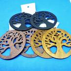 """3"""" Wood Earrings Tree of Life Pattern 3 colors .54 per pair"""