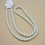 "32"" 7MM All Cream Color Glass Pearl Necklace  .56 ea"
