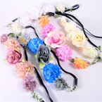 Popular Flower Fashion Headbands w/ Elastic Back (58) .54 each