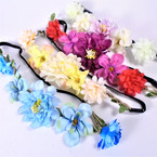Popular Flower Fashion Headbands w/ Elastic Back (57) .54 each