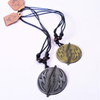 DBL Leather Cord Necklace w/ Thunder Gold/Silver Pendant  .54 each