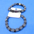 Square Bead  Hematite Stretch Bracelet   12 per pk .60 each