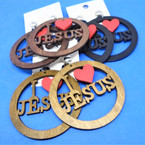 "2.75"" Wood Earring I Love Jesus """"CLIP ON""""   .54 per pair"