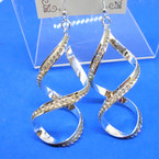 "3"" Silver Spiral Fashion Earrings w/ Single Row of Crystal Stones .54 per pair"