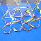 "3"" Gold/Silver Spiral Fashion Earrings w/ Single Row of Crystal Stones .54 per pair"