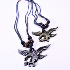 DBL Leather Cord Necklace w/ Eagle Gold/Silver Pendant  .54 each