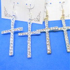 "1.5"" Gold & Silver Crystal Stone Cross Earrings .54 per pair"