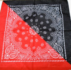"NEW 21"" Square Two Tone Bandana Red/Black .53 each"
