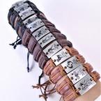 Teen Leather Bracelet w/ Zodiac Square Silver Plaque  .54 ea