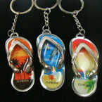 Florida Scene Metal Silver Flip Flop Keychains .54 ea