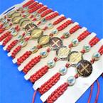 Red Macrame Bracelet w/ DBL Side San Benito Charm 12 per card   .54 each