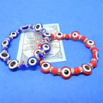 Red & Blue Evil Eye Stretch Bracelets w/ Mini Crystals   .54 each