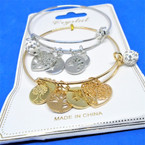 Gold & Silver  Wire Bangles w/ Tree of Life Charms & Fireball Bead  .54 each
