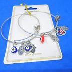 Gold & Silver  Wire Bangles w/ Hamsa & Evil Eye Charms  .54 each
