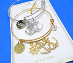 Gold & Silver  Wire Bangles w/ Anchor Theme  Charms  .54 each