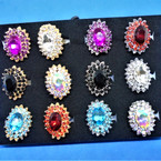 Lg. Crystal Stone Cocktail Rings Adj. Band  12 per tray .54 each