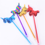 "9"" Metallic Pen w/ Sequin Unicorn Top Asst Colors ONly .49 each"