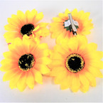 "4"" Yellow Sunflower w/ Gator Clip 24  per box   .27 each bow"