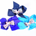 "5.5"" Gator Clip Bows  w/ Unicorn & Sparkle Silver Bow .54 each"