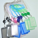 "New 30"" Asst Color Stripe Retractable ID Card Lanyards .54 each"