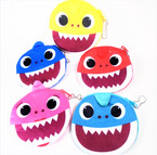 "4.5"" Plush Round  Cute Shark Zipper Coin Purses 12 per pk .56 each"