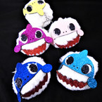 "2.5"" White Faux Fur Sparkle Baby Shark Key Chains 12 per pk .54 each"