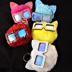 "2.5""  Faux Fur Sparkle Cat Theme Key Chains w/ Sunglasses  12 per pk .54 each"